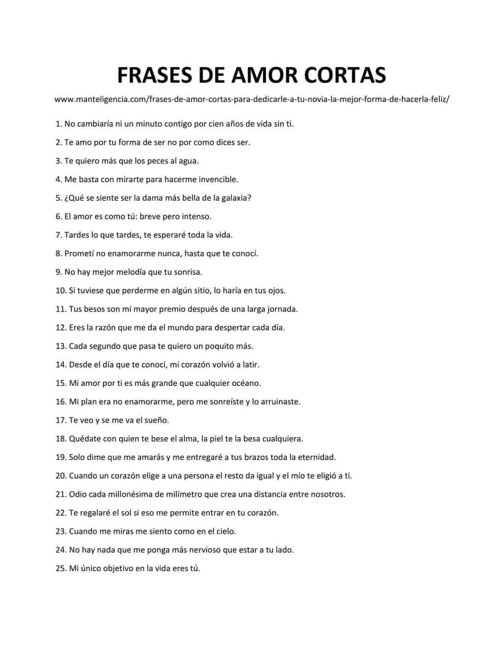 Downloadable list of FRASES DE AMOR CORTAS
