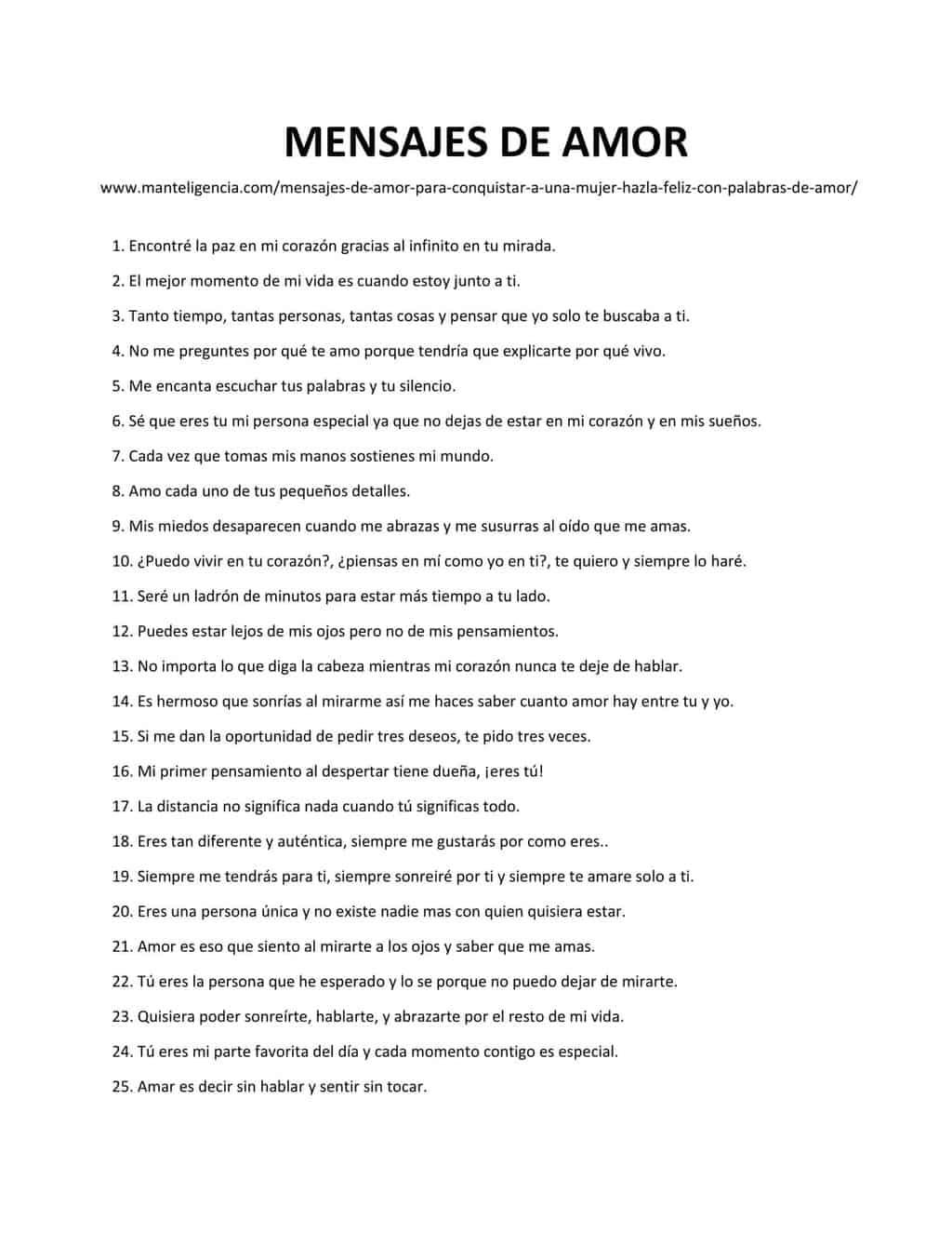 list of MENSAJES DE AMOR-1