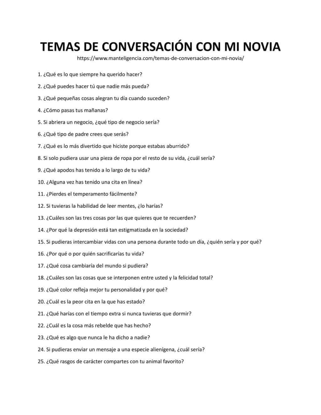 Lista descargable y imprimible de Tema de Conversación Perfecto Para Tu Novia
