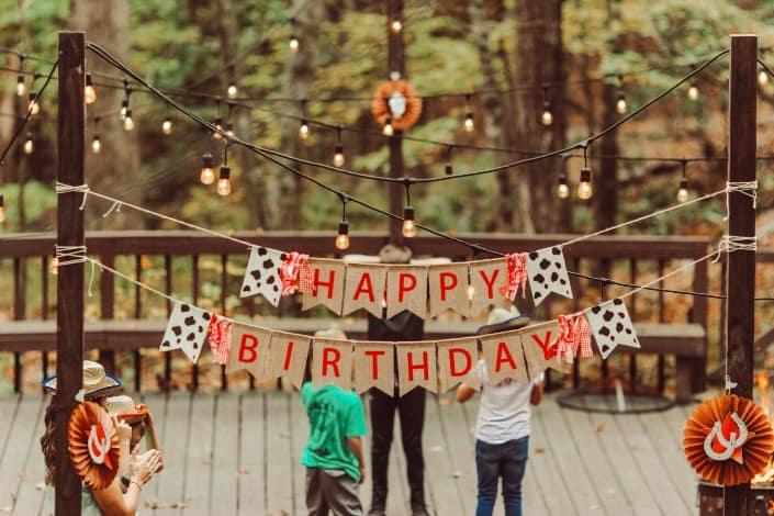 una configuración de fiesta de cumpleaños